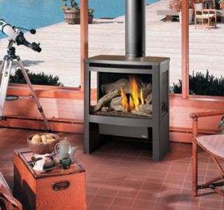Firewood stove in living room
