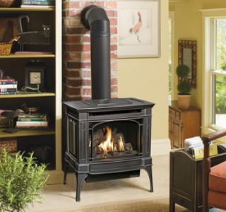 Black iron fireplace stove