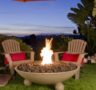 Backyard firepit feature