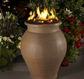 Outdoor firepit in large vase