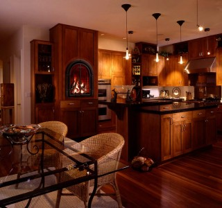 Staylish brown kitchen with fireplace