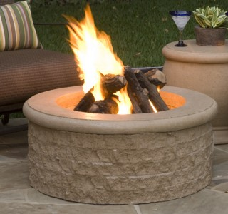 Chiseled firepit outdoor entertaining
