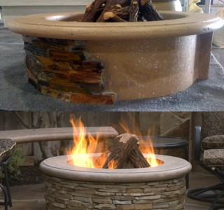 outdoor stone firepit