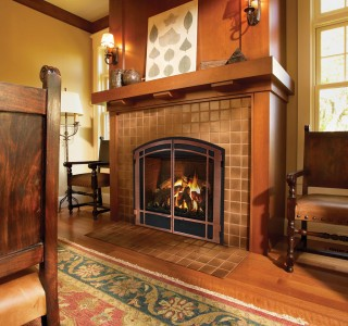 Traditional style room with fireplace