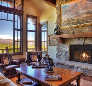 Beautiful living room with fireplace
