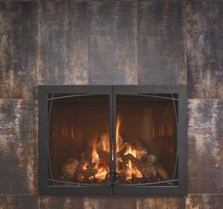Rustic iron fireplace