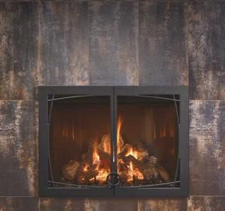 Rustic iron fireplace