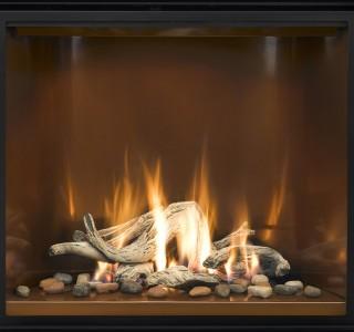 wood burning fireplace closeup
