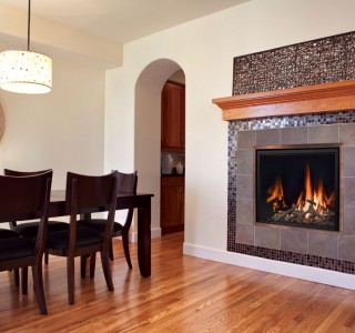 Home with burning fireplace