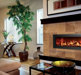 Rectangle fireplace in traditional room