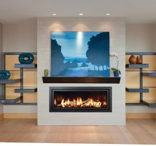 Modern room with fireplace