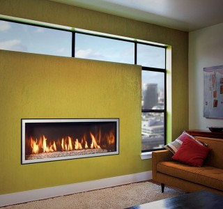 Statement wall with rectangle fireplace