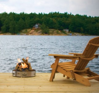 firepit patio deck by the water