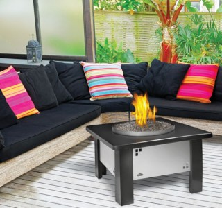 Small backyard firepit and patio furniture