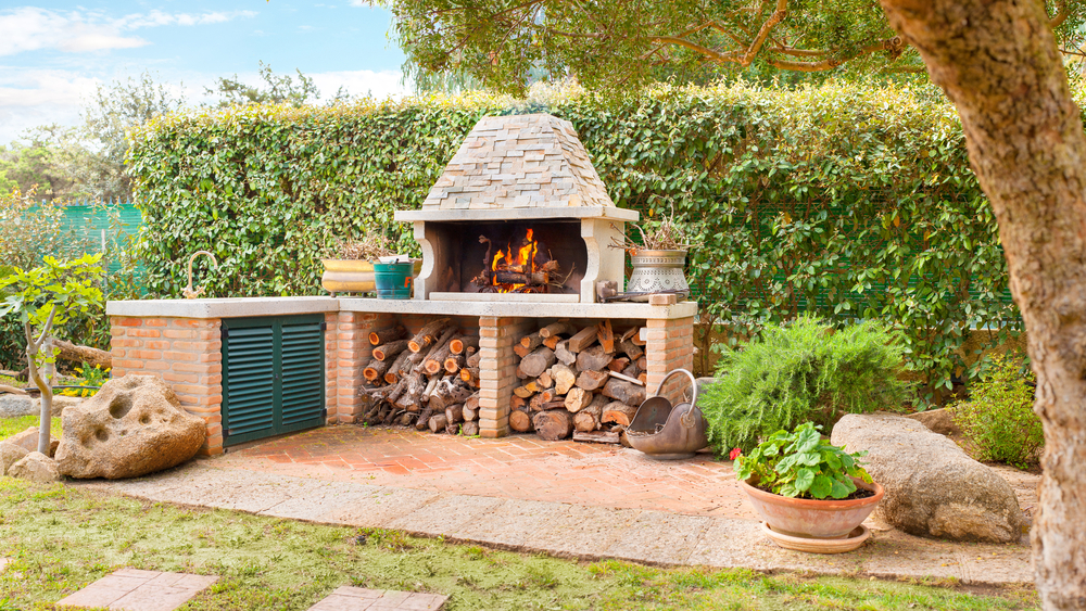 outdoor wood fireplace