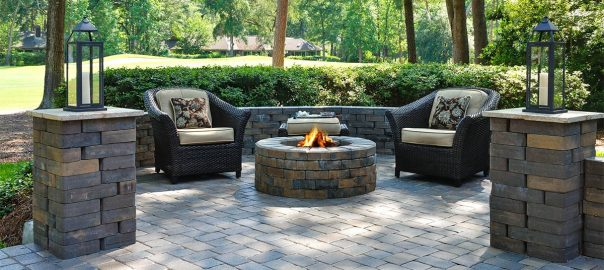 patio setting surrounding fire pit