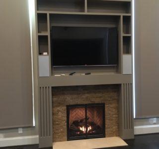 fireplace book shelf