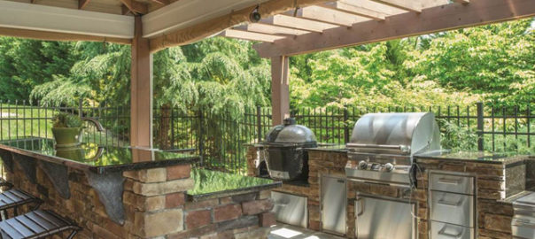 outdoor kitchen under pavilion