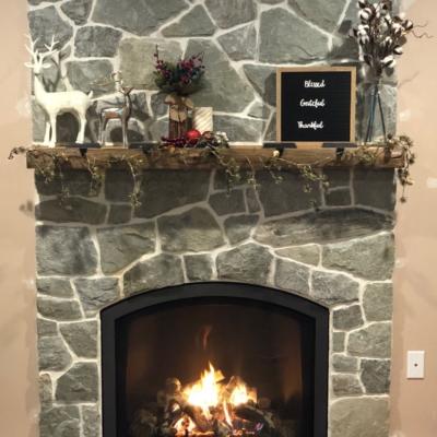stone bordered fireplace