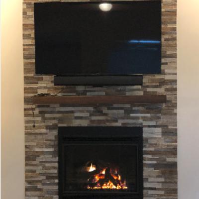 stone backed fireplace