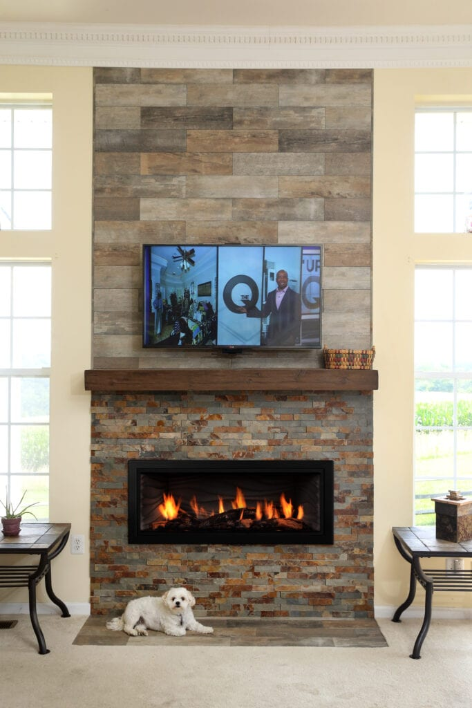 stone tile fireplace