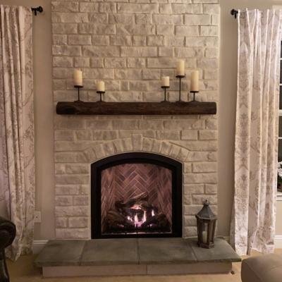 white stone around fireplace