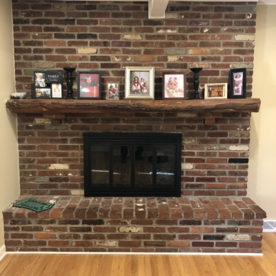 brick wall with old fireplace