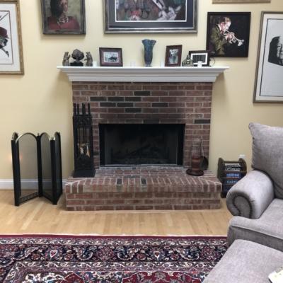 fireplace in art room