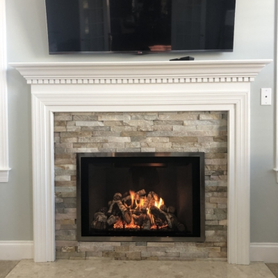 new stone faced fireplace