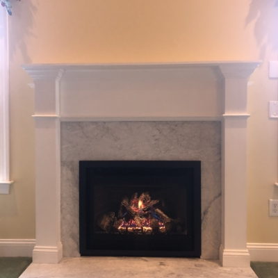 marble faced fireplace