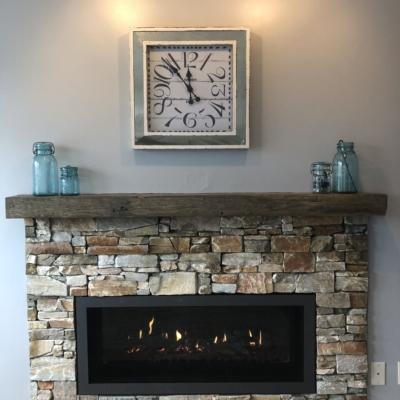 stone border fireplace
