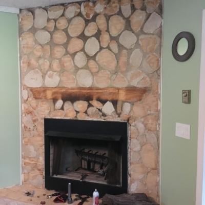 log design fireplace