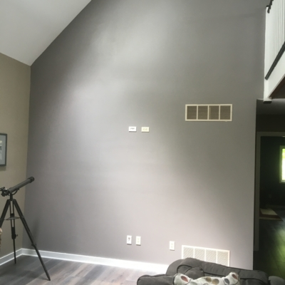 gray family room wall
