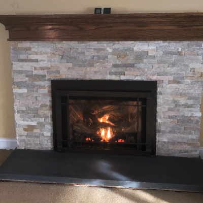 store bordered fireplace