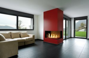 red wall corner fireplace