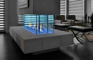 glass fire table