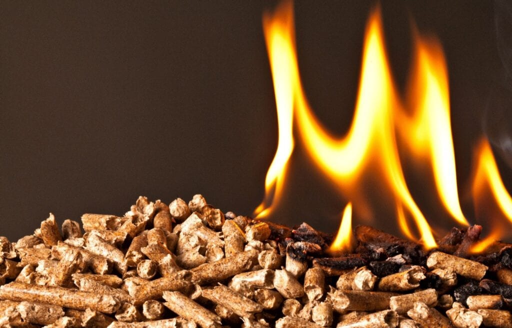 A pellet stove burning wood pellets