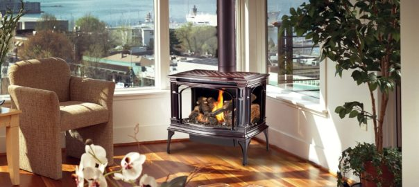 Stylish Lopi gas stove installed in lake house sitting room