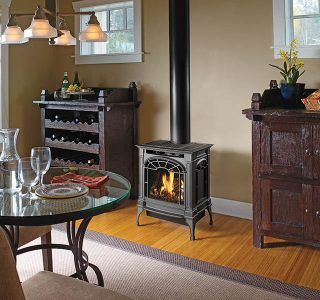 dining area with gas stove