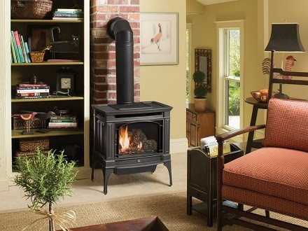 large stove in living room