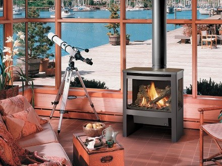 woodstove infront of large window
