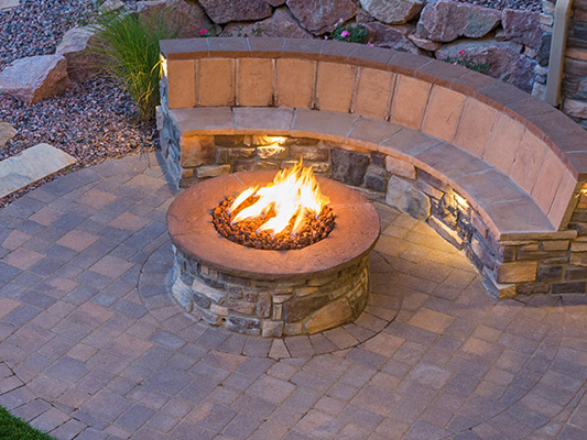 stone firepit with flames