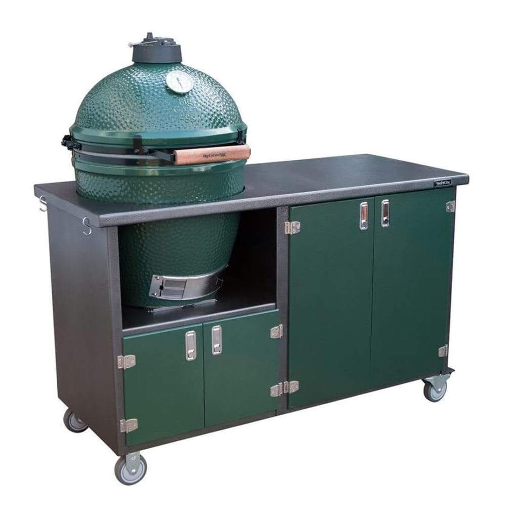 big green egg grill and cabinet