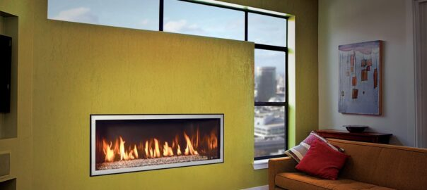 DaVinci Fireplace with crushed glass media and black reflective liner